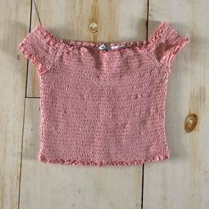 Urban Outfitters Cropped, Smocked Light Pink Top